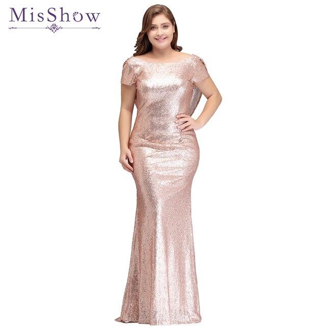 962c314ec2 Plus rozmiar suknia wieczorowa długa musujące 2019 nowych kobiet elegancka  cekinowa syrenka Maxi wieczorne Party suknia