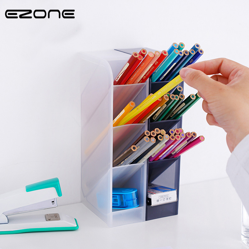 EZONE 4 Grids Pen Holder Pencil Case Black White Simple Style Pen Box Desktop Storage Box Stationery School Office Supplies Gift cute cat pen holders multifunctional storage wooden cosmetic storage box memo box penholder gift office organizer school supplie