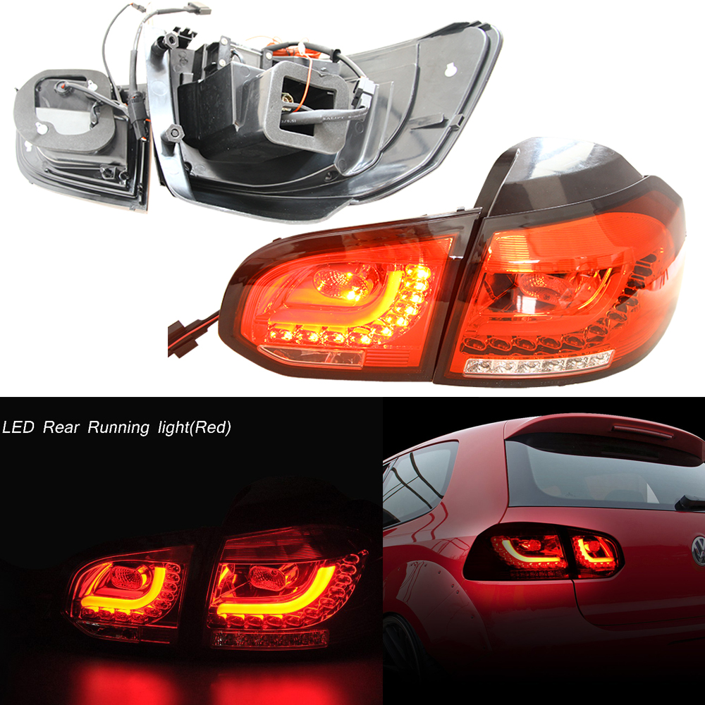 12v Automotive Led for 10-14 VW Golf/GTI MK6 Red Euro LED Taillights w/ Rear Fog Brake Light Lamp R20 Style OEM Replacement