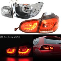 12v Automotive Led for 10 14 VW Golf/GTI MK6 Red Euro LED Taillights w/ Rear Fog Brake Light Lamp R20 Style OEM Replacement