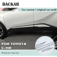 Backar ABS Car Anti collision Protective Door Bowl Handle Frame Trim Stickers For Toyota CHR C HR 2018 2017 2016 Accessories