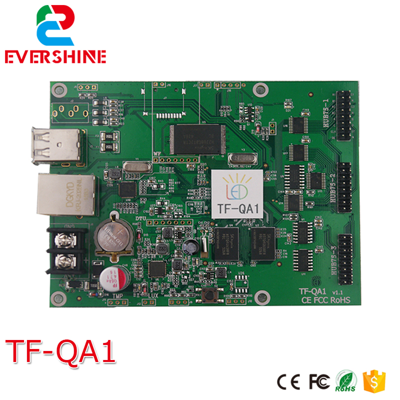 TF QA1 cheap rgb full color led control card for small size 512*160/384*320pixels led sign p4 p5 p6 p10 rgb led controller