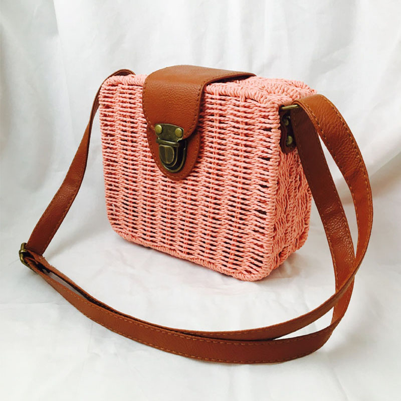 HTB1sqnxNYPpK1RjSZFFq6y5PpXaD - Fashion Mini Ladies Shoulder Bags Hand-woven Square Candy Color Straw Bag  Bohemia Beach Bag Vacation Travel Crossbody bag