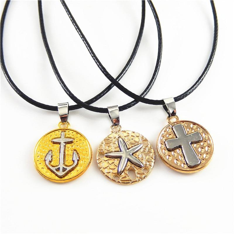 3pcs Retro Alloy Round Pendant Necklace Imitation Creative