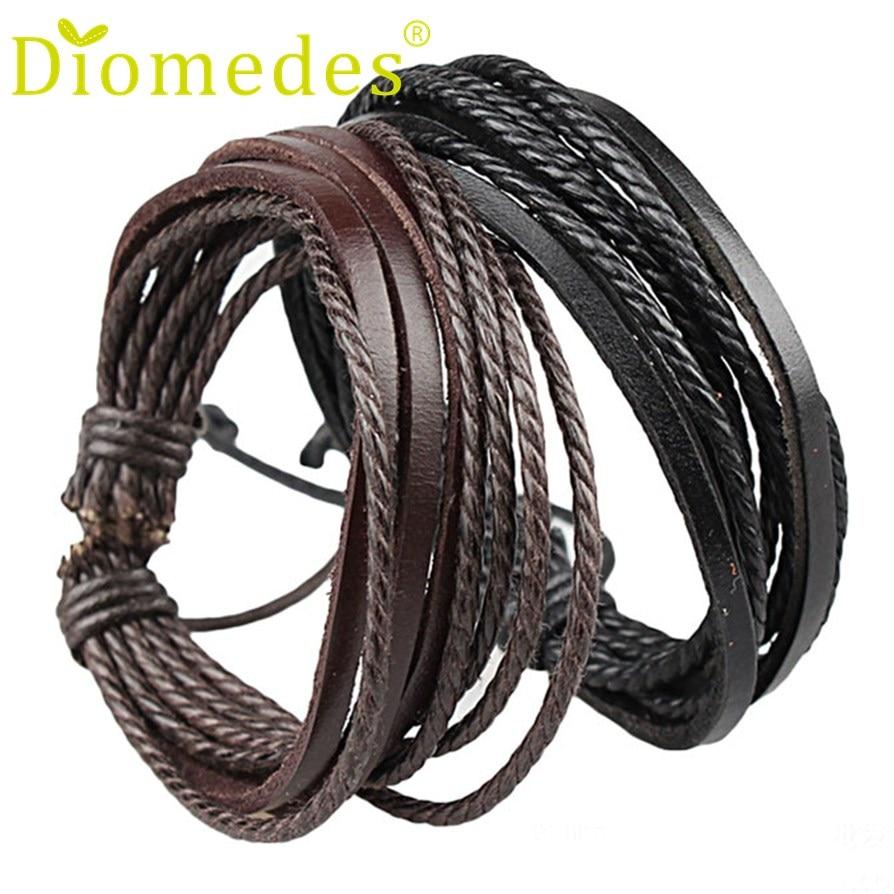 Gussy Life wholesale Fashion Men Women Wrap Leather Bracelets bangles Braided Rope Enrole pulseiras de couro