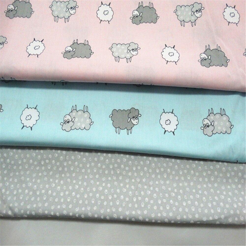 Kreslený ovčí bavlněná tkanina pro vyšívání šicí materiál Hometextile pro listy šaty polštáře panenky tašky 4ks / lot
