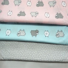 Cartoon Sheep Cotton Fabric Tissue For Needlework Sewing Material Hometextile For Sheets Dress Cushion Doll Bags 4Pieces/lot