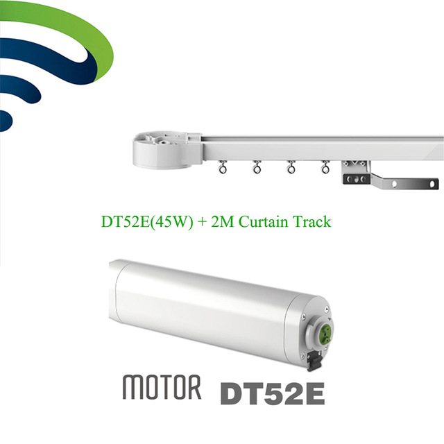 Dooya Electric Curtain System DT52E 45W Curtain Motor with Remote Control+2M Motorized Aluminium Curtain Rail Tracks dooya high quality electric super quiet curtain track auto motorized curtaintrack for remote control electric curtain motor