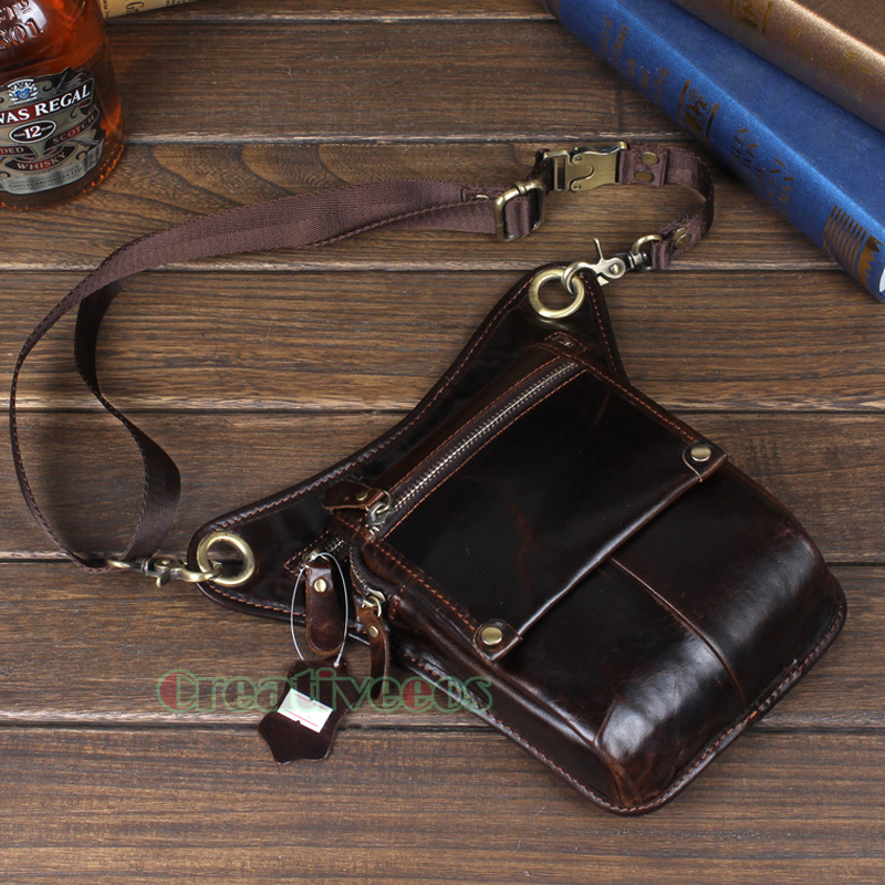 Men s Genuine Leather Travel Motorcycle Riding Messenger Shoulder Fanny Pack Waist Thigh Drop Leg Bag