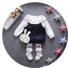 Autumn Baby Girls Long Sleeve O Neck Blouse Tops + Polka Dot Bow Overalls Dress Kids 2Pcs Suits Princess Infant Clothes