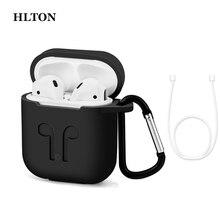 Hlton capa de silicone para fones de ouvido, acessórios de proteção ultrafina, à prova de choque, para apple airpods