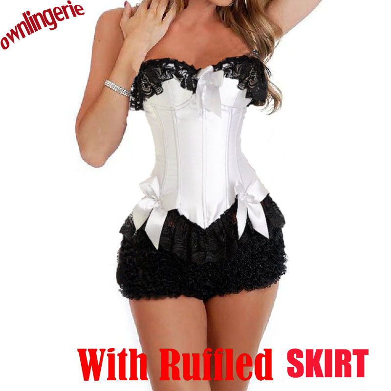 Free shipping sexy white and pink slimming corsets shape outwear,adult bustier corset top and ruffled skirt sets for women