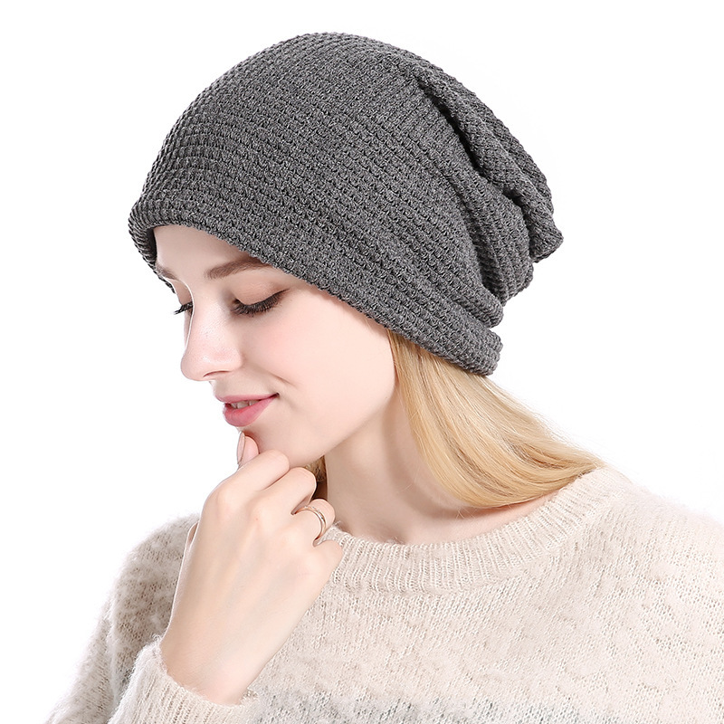 2017 Fashion Autumn And Winter Knitting Wool Hat Outdoors Keep Warm Head Cap Men And Women Hats for beanies the new 2016 han edition affixed cloth wave cap hat hat tip to keep warm letter knitting hat qiu dong men and women