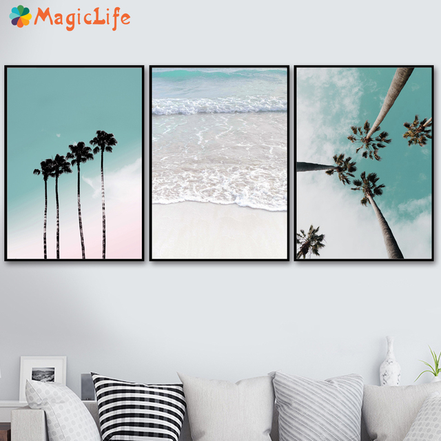 Coconut Palm Tree Pink Beach Sea Umbrella Wall Art Canvas Painting Nordic Poster Living Room Decor Unframed