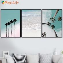 Cocotero palmera Rosa playa paraguas de mar cuadro sobre lienzo para pared cartel nórdico Decoración Para sala de estar sin marco