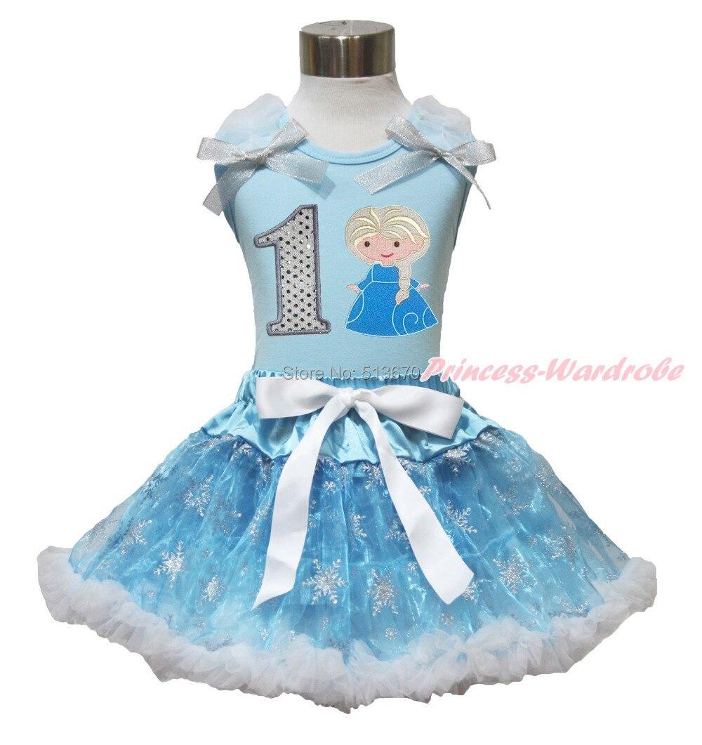 ФОТО light blue tank top sparkle 1st birthday princess elsa snowflakes organza pettiskirt mh230