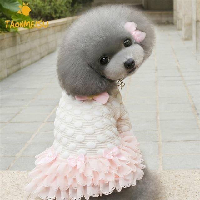 Lindo punto mascota ropa Otoño Invierno algodón perro ropa azul Rosa ...