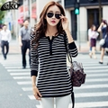 Striped T Shirt Women T-shirt Knitted Long Sleeve Tshirt Plus Size Loose Cotton T-shirts For Women Tops Spring Autumn Tee Shirt
