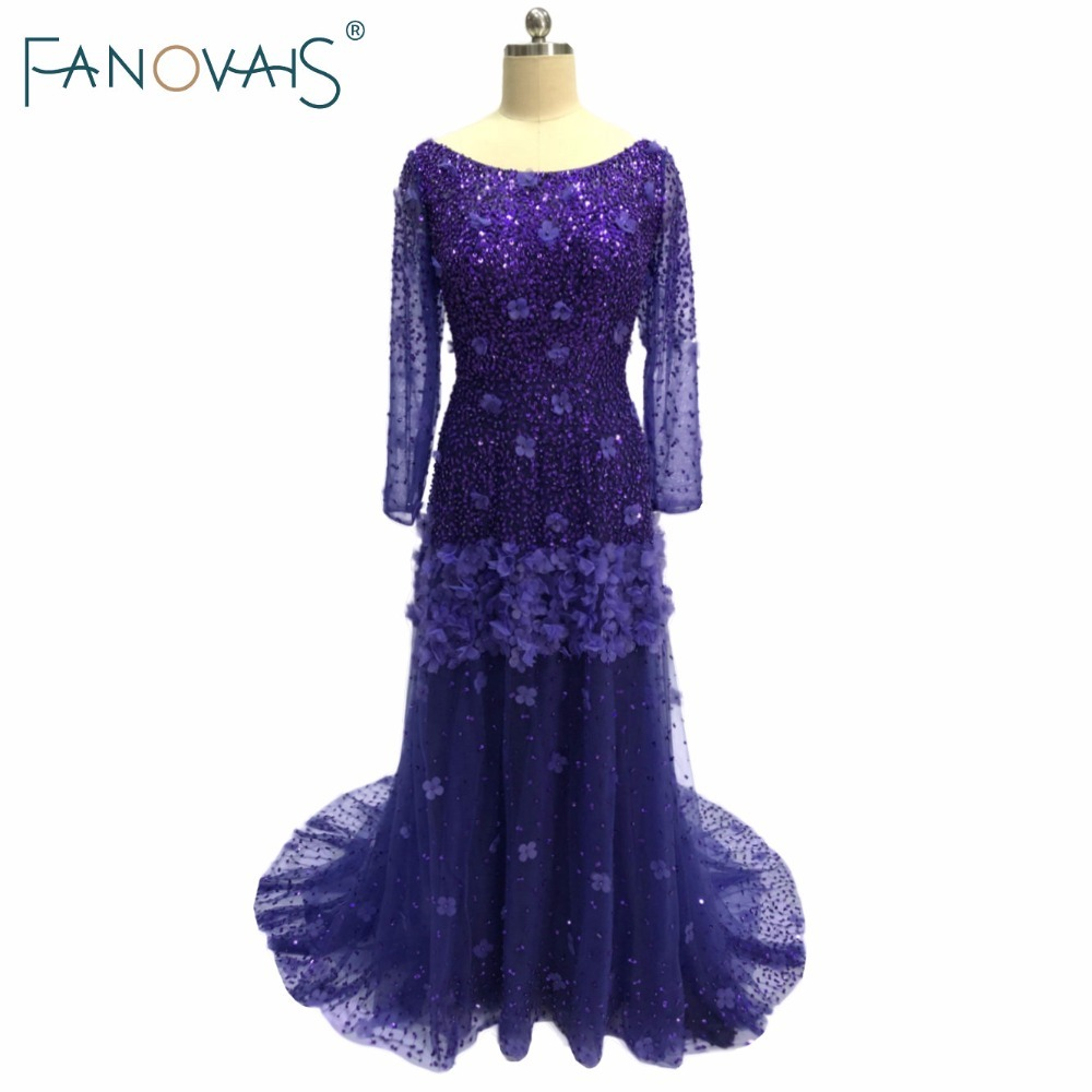 Luxury Purple   Evening     Dresses   Long Sleeves Tulle   Evening   Gowns Vestido de festa Crystal Beads Prom Party   Dresses   2019