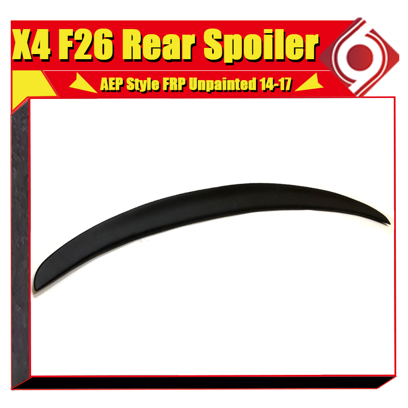 F26 Spoiler rear lip wing FRP Unpainted P Car styling Fits For BMW F26 X Series Auto rear trunk Spoiler wings stem Lip 2014 2017 in Spoilers Wings from Automobiles Motorcycles