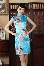 Blue Sexy Vintage Dripping Mini Silk Qipao Chinese Traditional Women Short Cheongsam Print Rayon Dress Size S M L XL XXL WC020