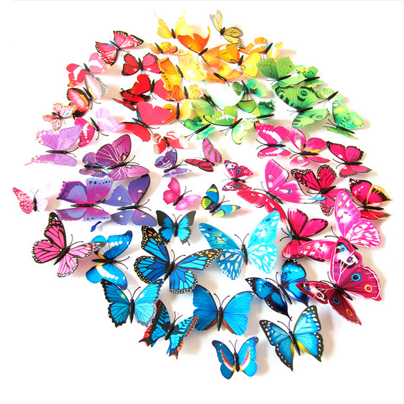 12 Pcs/set 3D PVC Double Butterfly Wall Sticker