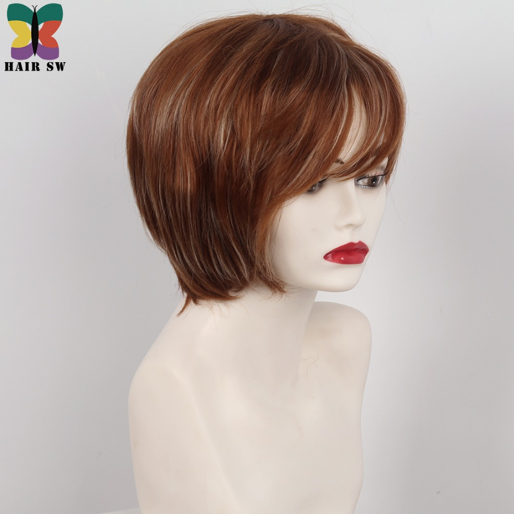 Hair Sw Short Straight Pixie Cut Layered Synthetic Wig Copper Brown