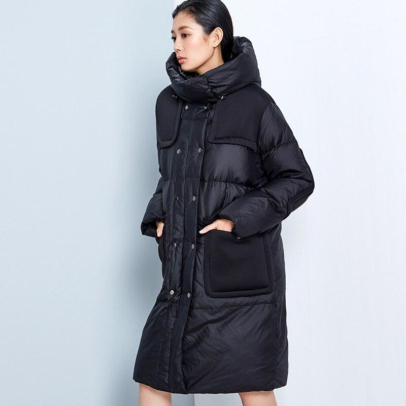 New Winter Women Casual Down Parkas 2017 Long Fashionable Down Coat Womens Hooded Warm Jacket