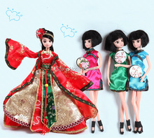 29cm 1:6 11.5″Chinese Ancient costume doll movable joints Children's toys Holiday birthday gift Fashion dress Kit