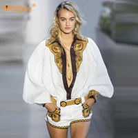 New Women's Set Long Sleeve White Embroidered Lantern Sleeve Tops and Shorts 2 Piece Two Piece Sexy Celebrity Party Runway Set