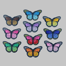 1PC Iron On Patches For Clothing Multicolor Butterfly Embroidery Patch Appliques Badge Stickers Clothes 7.8x4.2cm