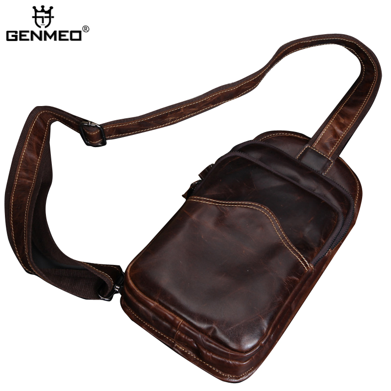 New Arrival Body Crossing Cow Leather Shoulder Bags Men Business Genuine Leather Messenger Bag Vintage Leather Men Bags