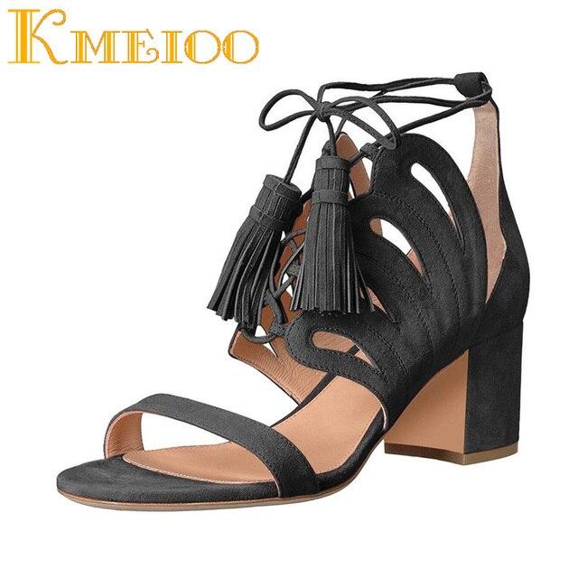 Kmeioo Hot Sale Fashion Women Shoes Fringe Sandals Cut Out Square Heels Suede Lace-up Shoes For Dress 6CM