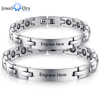 2pcs Lovers Personalized Engrave Name Bracelets Custom Text 205mm Stainless Steel Bracelets Bangles JewelOra BA101442