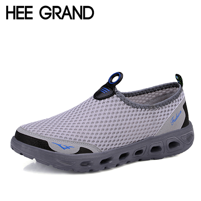 Hee Grand Casual Shoes Men 2016 Mesh Summer Style Solid Man Flats Loafers Breathable Slip-on Water Shoes Size Plus 39-45 XMR1619