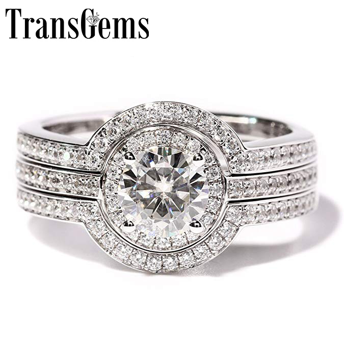 TransGems 1 Carat F Color Lab Grown moissanie Diamond Wedding Ring Set moissanite Accents Solid 14K White Women 3 Pieces transgems 1 carat lab grown moissanite diamond solitaire wedding band for man brilliant solid 18k two tone gold gentle dcc031