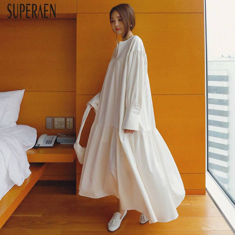 SuperAen Spring And Summer Long-sleeved New Dress Female 2019 Korean Style Long Dress Women Loose Pluz Size V-neck Cotton Dress