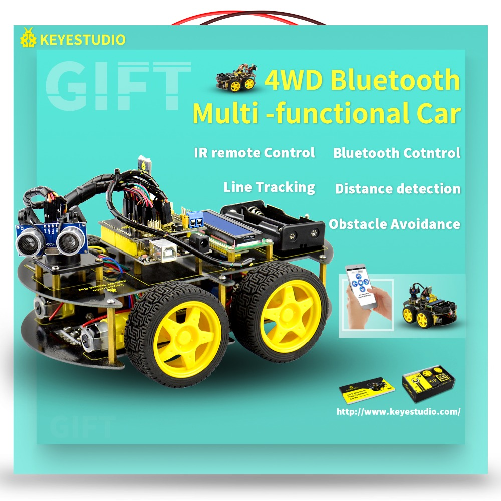 Keyestudio 4WD Bluetooth Multi-funcional de coche inteligente para Arduino Robot de programación de la educación + Manual de usuario + PDF (en línea) + vídeo