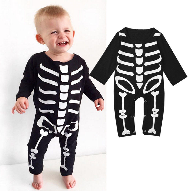 Autumn Spring Newborn kids long sleeve skull Romper Baby Boys Girls Halloween Rompers Jumpsuit Clothes Outfit Costume spring autumn newborn baby rompers cartoon infant kids boys girls warm clothing romper jumpsuit cotton long sleeve clothes