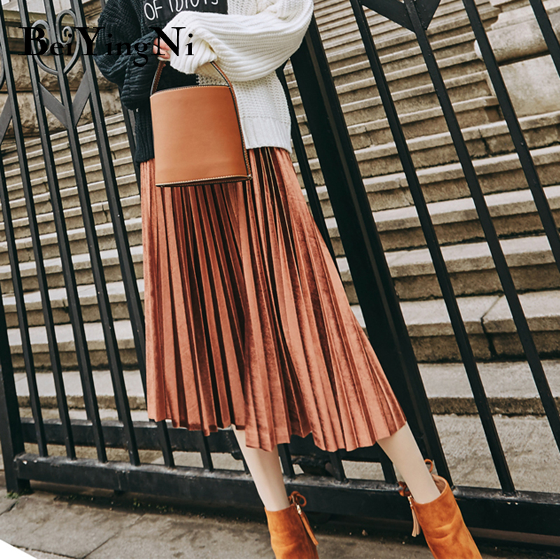 Beiyingni Skirt Women Autumn Winter Gold Velvet Skirts Casual Solid 12Colors High Elastic Waist Pleated Midi Skirt Vintage Kpop