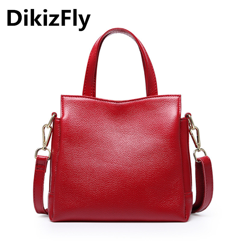 DikizFly New Genuine Leather women bags Tote bag Crossbody bags Cow Leather Three layers Casual Ladies handbags bolsa sac a main new women genuine leather handbags shoulder bag oil wax cow leather tote bags female vintage handbags sac a main ladies hand bag