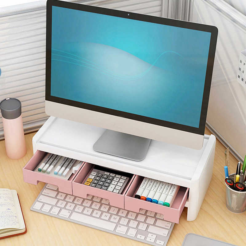 Creative Desktop Computer Keyboard Storage Holders Drawer Stationery Pen Books Sundries Shelf Home Office Accessories Supplies