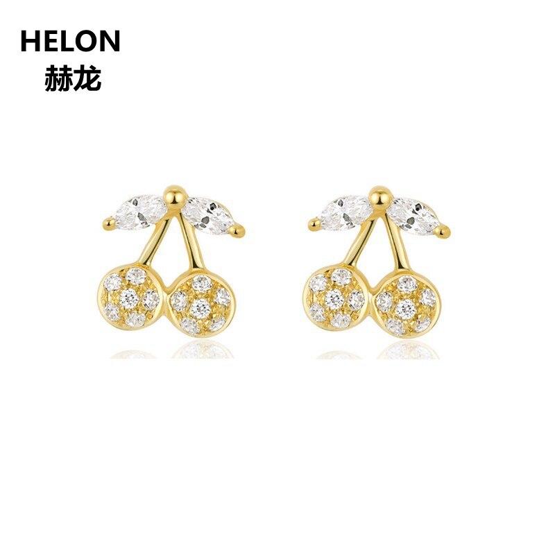 Solid 14k Yellow Gold Women Stud Earrings Engagement Wedding Fine Jewelry Cherry Shape Earrings все цены