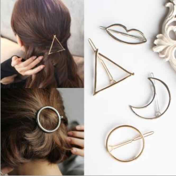 Europe  Exaggerated Triangular Moon Circle Hairpin Geometric Modeling Clip Hair Accessories