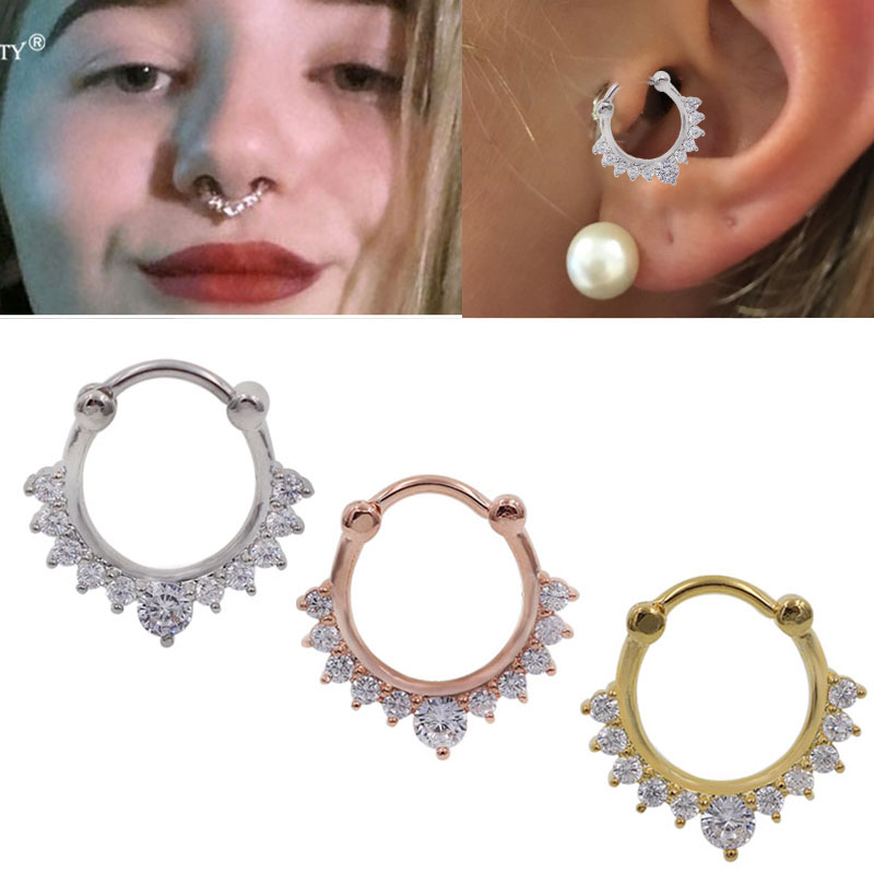 Hot Rose Hogold Color 1pc Nose Ring Lacey Opal Gem Septum Ring