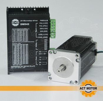 ACT Motor 1PC Nema 23 Stepper Motor Single Shaft 23HS2430 3A 425oz-in 112mm+1PC Driver 4.2A 50V 128Micro Mill Cut Grind Engraver image