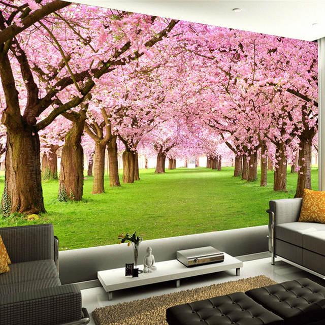 Online Shop Custom 3d Photo Wallpaper Pink Flower Tree Green Grass