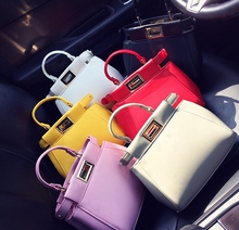 เวอร์ชั่นเกาหลี2016ใหม่กระเป๋าถือสีลูกอมล็อคกระเป๋ามือหญิงกระเป๋ากระเป๋าน้ำlading