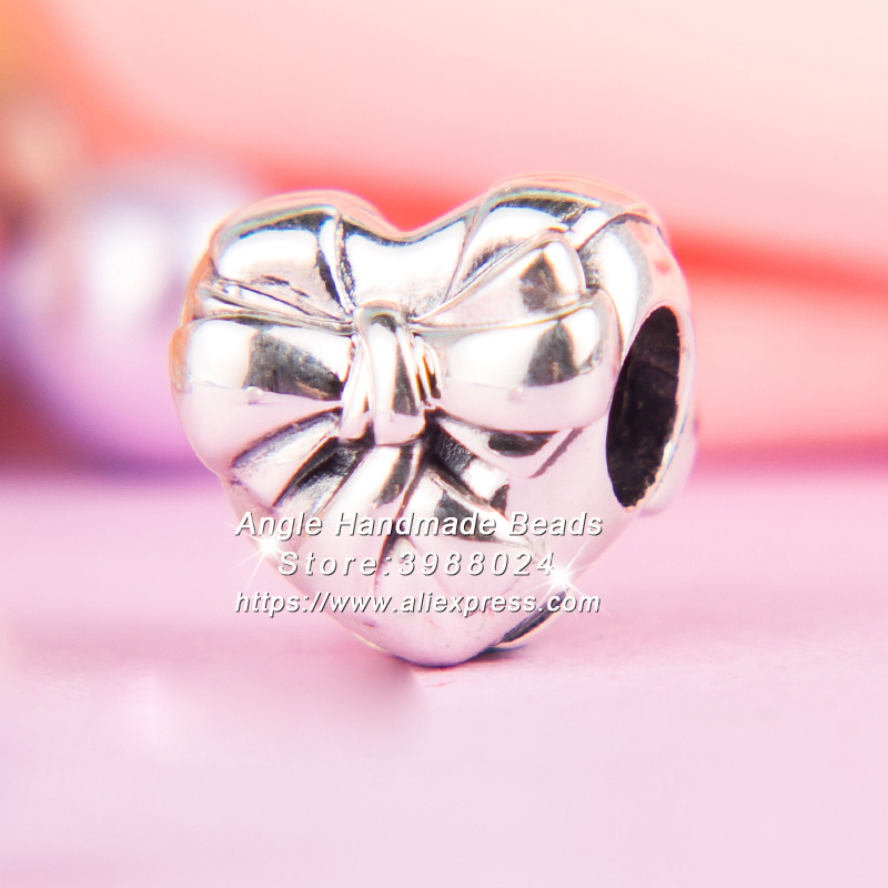 Fashion Jewelry 2018 Mothers Day S925 Sterling Silver Beads Brilliant Heart Bow Charms Fit European Bracelet Necklaces PW399