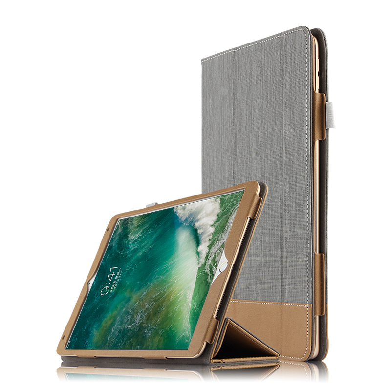 все цены на  High Quality 3-Folder Canvas Grain Folio Stand PU Leather Cover Manget Smart Sleep Case For Apple iPad Pro 10.5 10.5